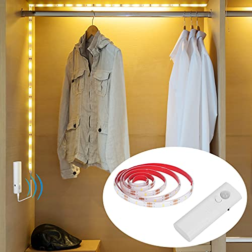 Motion Sensor Wardrobe Light Strip, Lacasa LED Strip Lights Warm White 1M, Auto Mode Motion Activated or Switch On/Off, for Wardrobe Closet, Drawer, Cupboard, Need 2AA Batteries (not Included)