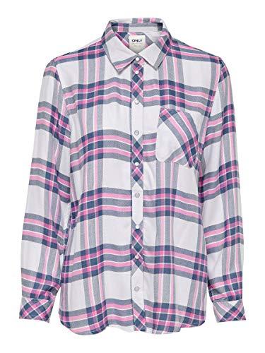 ONLY Damen ONLBUNTY LS DNM Shirt FF Hemd, Weiß (Cloud Dancer Checks: Begonia Pink/Medium Blue), Small (Herstellergröße: 36)