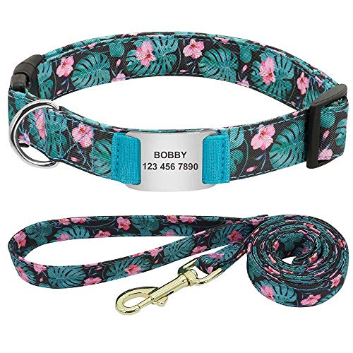 Forestpaw Customize ID Dog Collar and Leash Set,Popular Pattern,Lightweight,Fit Small,Medium and Large Pet(Green Pattern,S)
