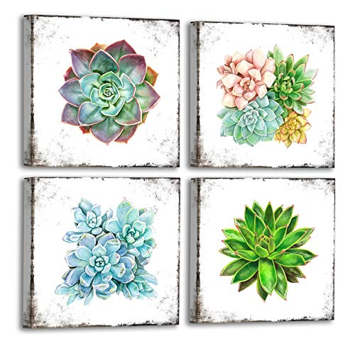 FATEECHO Watercolor Succulent Wall Art Prints Modern Green Plants and Flower Painting Vintage Background Pictures for Bathroom Bedroom Home Decor 12x12 Inches 4 Pieces