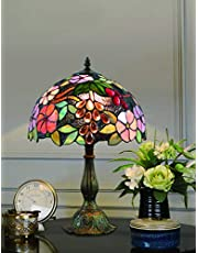 12 Inch Creative Grape Vintage Exquisite Flower Glass Painting Style Table Lamp Bedroom Lamp Bedside Lamp