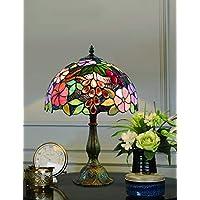 12 Pulgadas Vintage Pastoral Flores Hermosas Vidrieras de Colores Estilo Lámpara de Mesa Lámpara de Dormitorio Lámpara de Noche