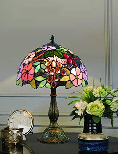 12 Pulgadas Vintage Pastoral Flores Hermosas Vidrieras de Colores Estilo Lámpara de Mesa...