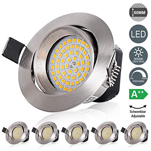 LED Einbaustrahler Dimmbar Schwenkbar Spots 230V Flach 5W Deckenstrahler Leuchtmittel-Warmweiß 3000K, 490lm, Runden Stahl IP20 Deckenspots, 120° Abstrahlwinkel, 6er Set