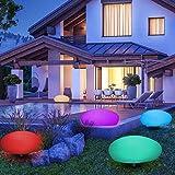 Solar Gartenleuchten LED bunt Solarleuchten Garten Solarlampe mit Fernbedienung, Innendurchmesser 33 cm, 16 verstellbarer Farben, Wasserdicht IP54 Solar kugel Lampe Kieselstein Form für Hof, Rasen