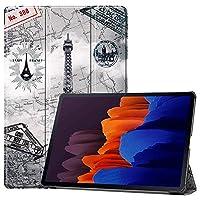 ESSTORE-EU Samsung Galaxy Tab S7 Plus 12.4 2020(SM-T970/T975/T976)用ケース、3つ折りスタンドスマート保護カバー[Sペンのワイヤレス充電をサポート] [自動スリープ/スリープ解除]のケース、エッフェル塔
