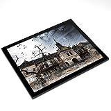 Mantel Individual de Vinilo de Destination de 20 x 25 cm, diseño de casa encantada de Terror de la...