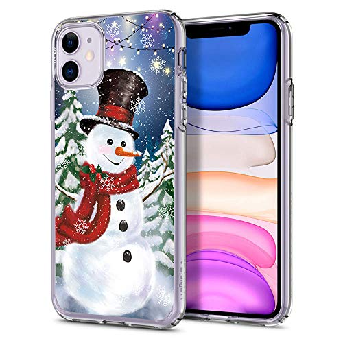 Cocomong Merry Christmas Case for iPhone 11 6.1' Cute Winter Snowman Design, Flexible TPU Slim Thin Protective Phone Case Shockproof Anti-Drop-Scratch Bumper
