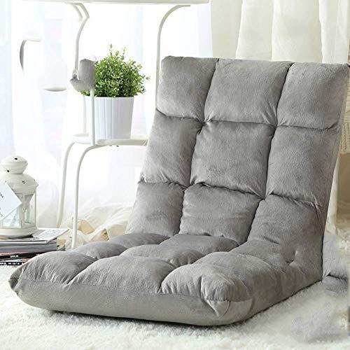 KIWG verstelbare 14-Position Memory Foam vloerstoel, bureaustoel met comfortabele rugsteun, geschikt voor thuis, bureaustoel, grijs 110X50cm