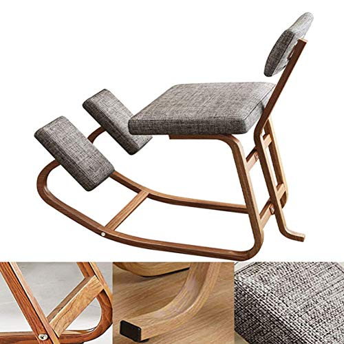 DHFD Ergonomic Kneeling Chair, Posture Corrective Kneeling Chair, with Back Support, for Office & Home, Back Support, Rocking Kneel Seat with Cotton Cushion