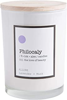 Philocaly Scented Candle, Allure, Lavender + Musk, 9.5 oz, Soy Wax