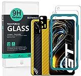 Ibywind Cristal Templado para Realme GT 5G, [2 Piezas],con Metálico Protector de Lente de Cámara,Atrás Pegatina Protectora Fibra de Carbono, Kit de instalación fácil