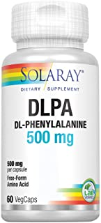 Solaray DL-Phenylalanine, 500mg | 50-50 Blend of Essential Amino Acids for Nervous System, Mood & Energy Support | 60 VegCaps