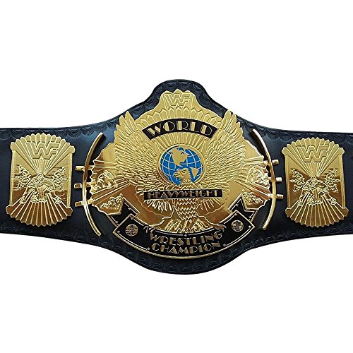 WWF/WWE Classic Gold Winged Eagle Championship Replica Belt 4mm Thick Plate Genuine Leather Black