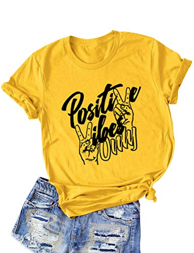 Nlife Women Positive Vibes Letter Victory Sign Short Sleeve Casual Tee Shirts (1-Yellow, L)
