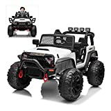 24V Kids Electric Ride On Car with Remote Control, 200W Ultra Powerful Motors Off-Road Truck for Boys Girls, Bluetooth, MP3, Working Lights, Pull Handle, 4 Wheels Suspension, White