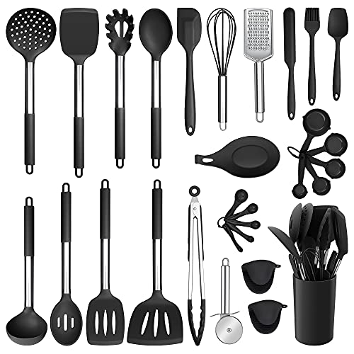 Silicone Kitchen Utensils Set, E-far 30-Piece Cooking Utensils Set with Holder, Heat Resistant Kitchen Spatulas Turner Tong Spoon Whisk Ladle for Nonstick Cookware, Stainless Steel Handle (Black)