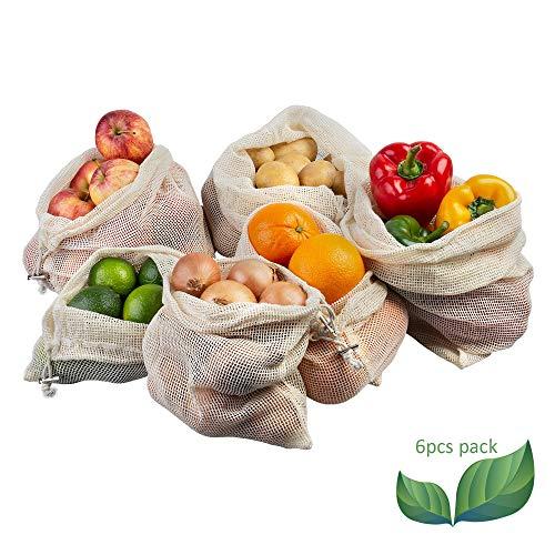 ECENCE Set di 6 Borse per Frutta e Verdura riutilizzabili ecocompatibili Senza plastica, Lavabili e Resistenti retine per la Spesa in Cotone Lavabili e Resistenti 32040106