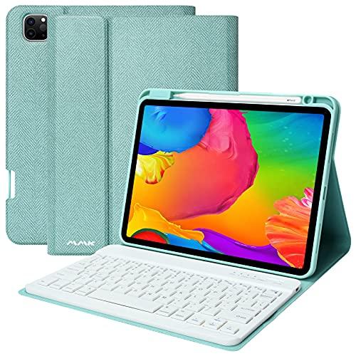 AMZCASE iPad Tastatur Hülle 10.9 für iPad Air 4 Generation 10.9 2020 / iPad Pro 11 2018 mit Abnehmbarer kabelloser Bluetooth-Tastatur (Green)