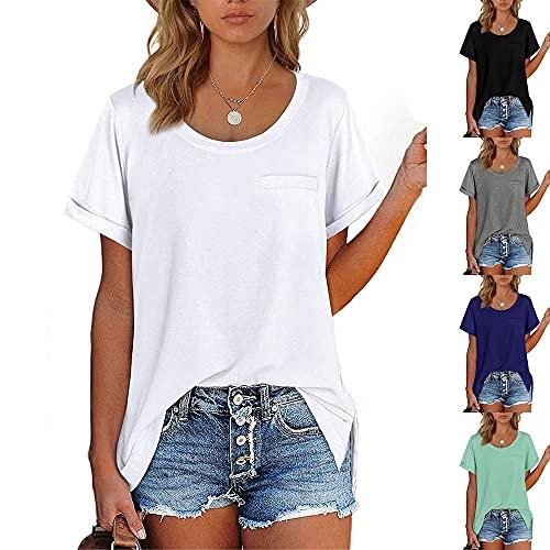 Camiseta Mujer Elegante Cómodo Color Puro Simple Cuello Redondo Suelto Transpirable Blusa De Mujer Verano...