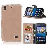 Huawei Ascend G620S Hülle, SATURCASE Retro Mattiert PU Leder Flip Magnetverschluss Brieftasche Standfunktion Kartenschlitze Schützend Tasche Schutzhülle Handycover für Huawei Ascend G620S (Beige)