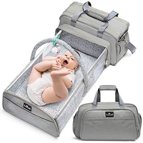 Travel Diaper Bag, Combo Backpack Changing Station, Portable Crib, 4 in 1 Foldable Bassinet, Mosquito Net Included, Lightweight Design Wears 4 Ways - Spacious Interior - 19.6 x 10.2 Inches