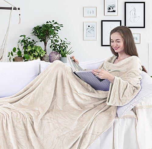 DecoKing Kuscheldecke mit Ärmeln 170x200 cm Creme Microfaser TV Decke weich Tagesdecke Lazy