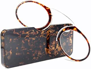 Fashion Clip on Nose Reading Glasses unisex Portable mini Glasses for Reading Eyeglasses With Box(Leopard,+3.0)