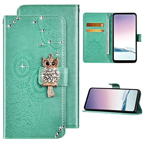 Kompatibel mit Samsung Galaxy A71 5G Hülle Glitzer Diamant Glänzend Ledertasche Brieftasche Schutzhülle Flip Case,Eule Muster PU Leder Klapphülle Tasche Handyhülle für Galaxy A71 5G,Grün