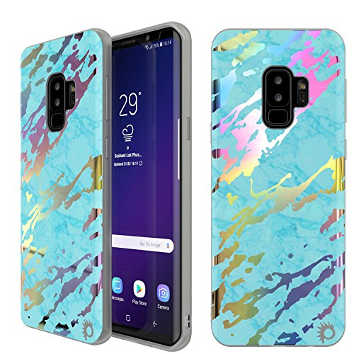 Punkcase Galaxy S9 Plus Marble Case, Beautiful & Protective Full Body Cover W/PunkShield Screen Protector [Non Slip Grip] Authentic Marble Look for Your Samsung Galaxy S9+ (Teal Onyx)