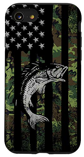 iPhone SE (2020) / 7 / 8 Camo Fishing American Flag Bass Fish Men, Boys - Manly Phone Case
