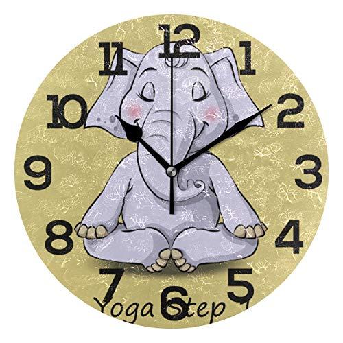 AMONKA - Reloj de pared redondo con diseño de elefante de dibujos animados para hacer yoga y hacer yoga, sin tictac, silencioso, para decoración del hogar, sala de estar, dormitorio, cocina, escuela, oficina