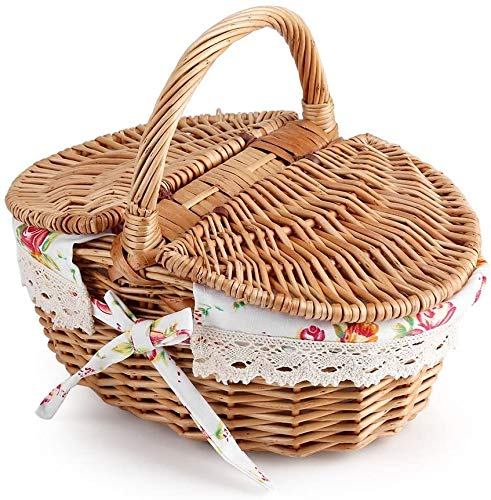 Picknickkorb mit Griff, ovale Doppeldeckel Wicker Leinen Blumen Picknick Aufbewahrungskorb Urlaub Camping Verwenden Sie Home Decor