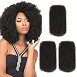 Style Icon 3 Bundles Afro Kinkys Bulk Human Hair (12'/12'/12', Natural Black) - Afro Twist Braiding Hair - Curly Hair Extensions Human Hair - Afro Bulk Braiding Hair for Dreadlocks - Loc Braiding Hair