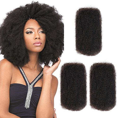 "Style Icon 3 Bundles Afro Kinkys Bulk Human Hair (14""/14""/14"", Natural Black) - Afro Twist Braiding Hair - Curly Hair Extensions Human Hair - Afro Bulk Braiding Hair for Dreadlocks - Loc Braiding Hair"