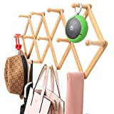 Viromo Wall Mounted Expandable Coat Rack Hanger with 13 Hooks, Eco Friendly Accordion Design for Hanging Clothes, Hat, Coffee Mug, Baseball Cap, Key, Purse