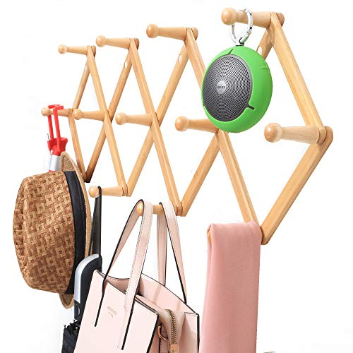 Viromo Wall Mounted Expandable Coat Rack Hanger with 13 Hooks Eco Friendly Accordion Design for Hanging Clothes Hat Coffee Mug Baseball Cap Key Purse