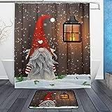ZOEO Stilvoller Duschvorhang-Set Weihnachten Folklore Elfen niedlicher Zwerg Polyester Stoff Badezimmer Vorhang Anzug mit Matte Teppich 12 Haken …