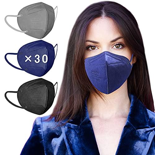 AHOTOP FFP2 Masken Mundschutz | 30 Stück FFP2 Maske Bunt | FFP2 Maske CE Zertifiziert | Bunte FFP2 Maske Farbig | FFP2 Maske Schwarz Grau Blau | Gesichtsmaske Mund Nasen Schutzmaske Einzeln Verpackt