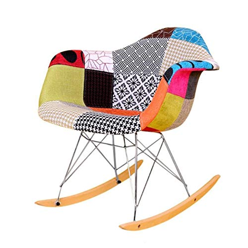 SHUILV Fabric Single Plastic Rocking Chair, Home Leisure Nap Lounge Chair, Suitable for Terrace Office Household Solid Wood