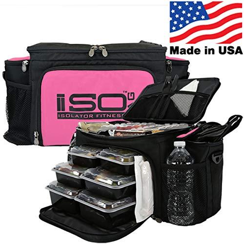 Isolator Fitness 2. Generation Isobag 6 Mahlzeiten Management System/Pinker Akzent/Schwarz/Isolierte Mahlzeiten-Kühltasche