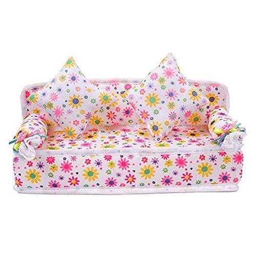 Sungpunet Mini-Möbel, Blumensofa mit 2 Kissen, Set für Barbie-Puppenhaus, Zubehör für Kinder, Spielzeug