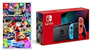 """Nintendo Switch (Neon Red/Neon Blue) and Mario Kart 8 Deluxe This model includes battery life of approximately 4.5 - 9 hours. The battery life will depend on the games you play. Model number: HAC-001(-01) (product serial number begins with """"XKW"""") The..."""