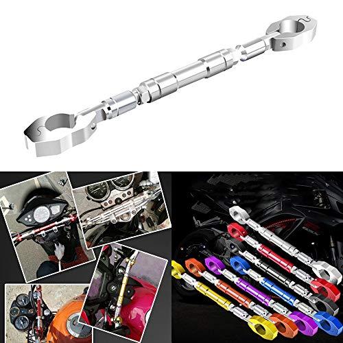 HANSWDアルミブレース オートバイハンドルバー おしゃれ バイク ハンドル ブレース 調整可能なクロスバー クランプの直径22mm適用 (シルバー)