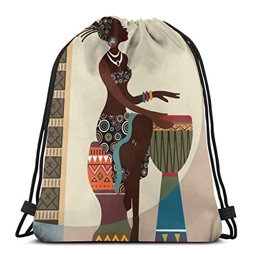 Hangdachang afroamericanas mujeres cordón mochila gimnasio bolsa cinch bolsa cadena bolsa mujer africana arte