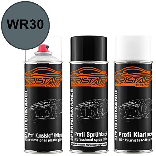 TRISTARcolor Autolack Spraydosen Set für Kunststoff Stoßstange für Rolls Royce WR30 Tungsten II Metallic Haftgrund Basislack Klarlack mit Weichmacher Sprühdose