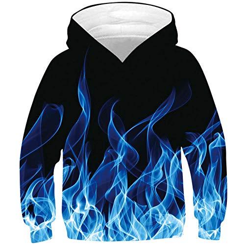 kids4ever Unisex 3D Rauch Hoodies Kinder Realistische Druck Kapuzenpullover Herbst Winter Pullover Pulli Sweatshirts Hoody für Jungen Mädchen Teen Alter 12-13