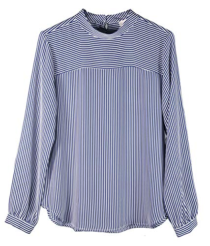 Ann Taylor LOFT Women's Striped Mock Neck Blouse (Medium, Sea Blue/White)