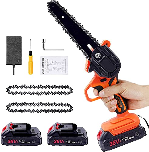 Mini Chainsaw Cordless, 6 Inch Battery Powered Chainsaw Pruning Chain Saw, One-Handed Portable Electric Small Chainsaw for Gardening Tree Trimming and Branch Wood Cutting(2x Battery,2x Chain)