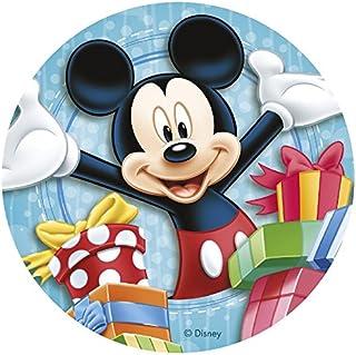 Decoración para tarta de azúcar comestible de Mickey Mouse redonda de 20 cm. Producto con licencia. Dekora.